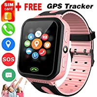 """[Free SIM Card] Kids Smart Phone Watches GPS Tracker for Girls Boys 1.44"""" Touchscreen Wrist Fitness Tracker with Camera Anti-Lost SOS Game Electronic Learning Toy for Thanksgiving Christmas Birthday"""