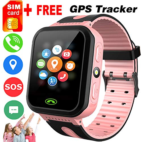 Phone Built In Gps - [Free SIM Card] Kids Smart Phone Watches GPS Tracker for Girls Boys 1.44