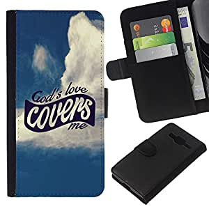 KLONGSHOP // Tirón de la caja Cartera de cuero con ranuras para tarjetas - Amor BIBLIA Dios me Cubiertas - Samsung Galaxy Core Prime //