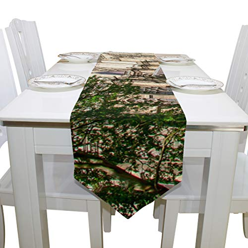 Menedo Table Cover Long History Amiens Cathedral Church Non-Slip Table Runner Farm Table Cloths for Kitchen Outdoor Carnival Party Office Place Mats Table Overlays 13x90 Inch