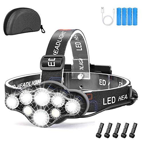 Yabtf Stirnlampe,18000 Lumen 8 LED 8 Modi Kopflampe mit Rot weiß Warnlicht,USB Wiederaufladbare Wasserdicht Stirnleuchte für Outdoor Camping Wandern Arbeiten