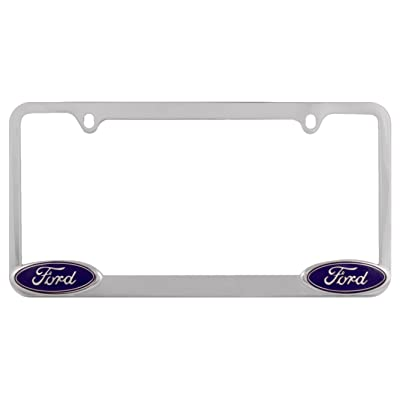 Bully WL021-C Chrome Ford License Plate Frame Holder Front or Back Bumper Shows Car Tags - Exterior Accessories for Trucks, Cars and SUVs - 1 Piece Genuine Licensed Product: Automotive