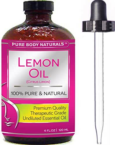 Pure Body Naturals Therapeutic Grade Undiluted Essential Lemon Oil, 4 fl. oz.
