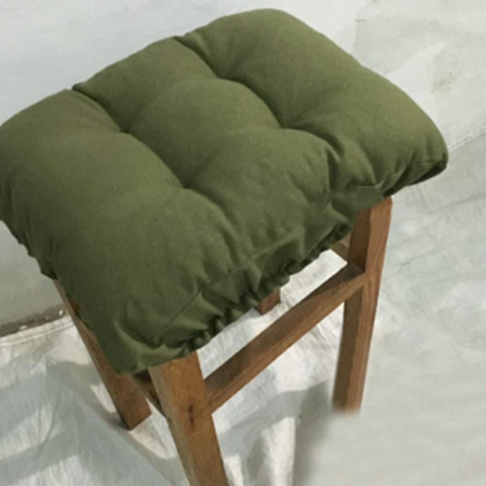 Olpchee Cloth Rectangle Bar Stool Cushion Solid Color Chair Seat Pad Cover with Elastic 11.81x15.75 in (Army Green) 612nV7lVV7L