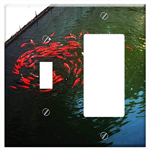 1-Toggle 1-Rocker/GFCI Combination Wall Plate Cover - Goldfish Fish Pond Pet Swim School Swirl