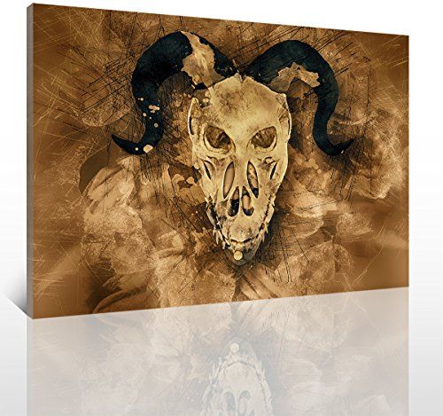YOOOAHU 1 Piece Halloween Painting Skull Face Canvas Brown Wall Art Day of The Dead Skeleton Figure Whimsy Design Artwork Pictures Prints Home Decor Stretched and Framed Ready to Hang -24x36 Inch -