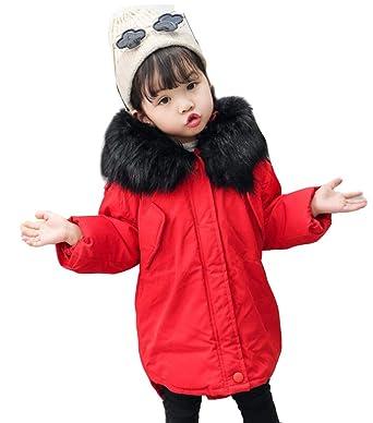 5e82e303a38f Brinny Doudoune Enfant Fille Hiver avec Capuche Fourrure Longue Manteau  vêtement Fille Chaud Epais Duvet Fausse