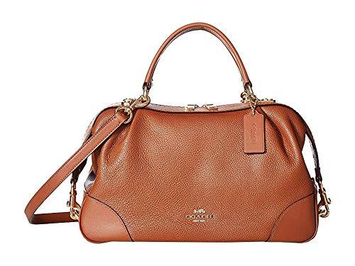 - COACH Women's Polished Pebble Leather Lane Satchel 1941 Saddle/Gold One Size