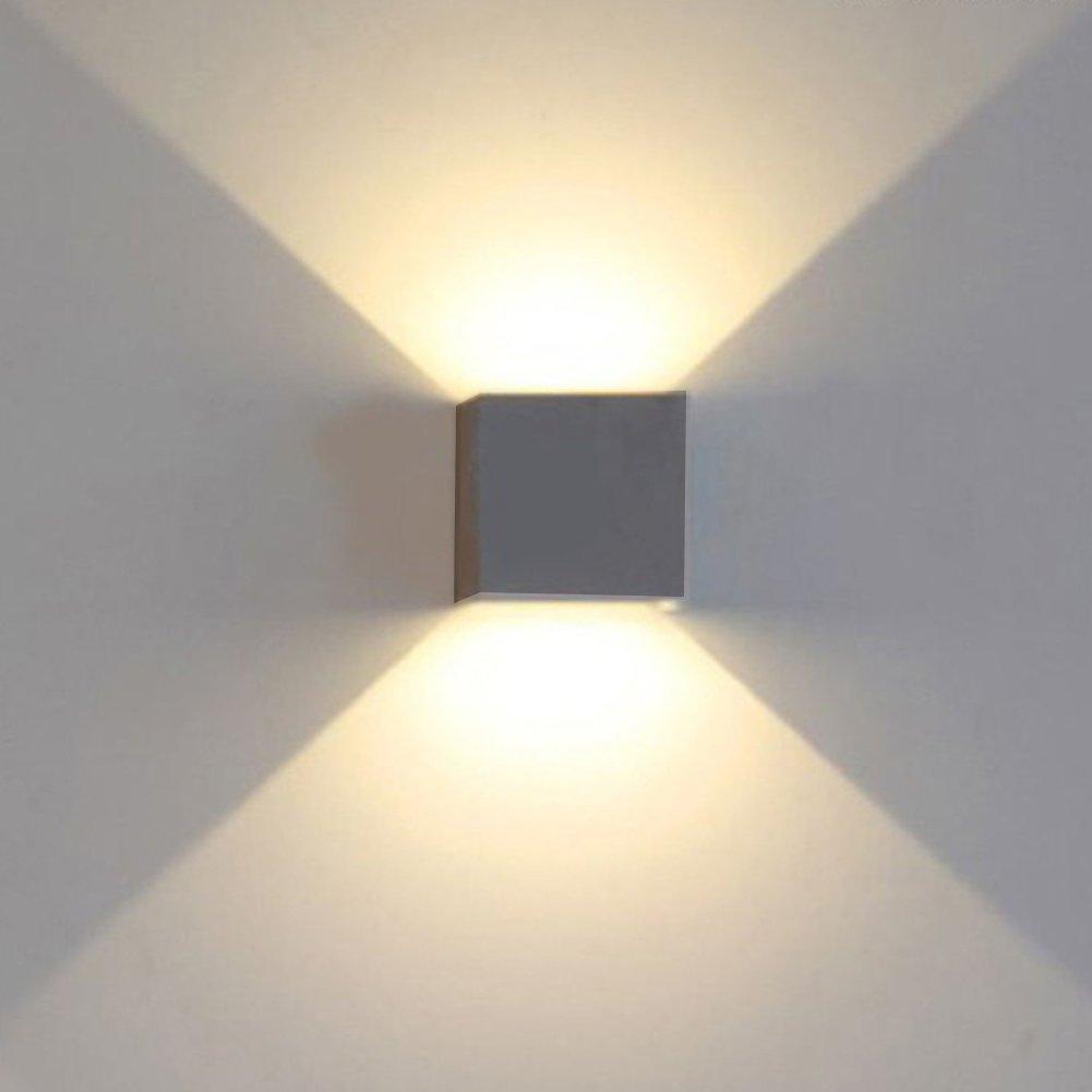 K-Bright 7W führte Würfelwandleuchten / Wandbeleuchtung / dekorative Wandlampen, 10 * 10 * 10 CM Moderne design outdoor wandleuchten, wasserdicht IP 65 innen / außen LED Wandleuchte, Dunkelgraues Aluminium, Verstellbarer Lichtstrahl, 4000K-4500K natürliche