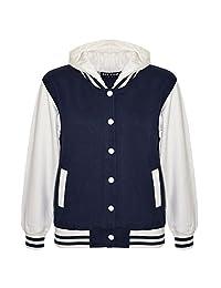 Kids Girls Boys Baseball Plain Hooded Jacket Stylish Varsity Hoodie 5-13 Years