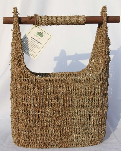Medium Seagrass Wood Handle Basket product image