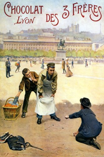 (Boys Playing Marbles Chocolat Lyon France French Chocolate Cocoa Vintage Poster Repro 12