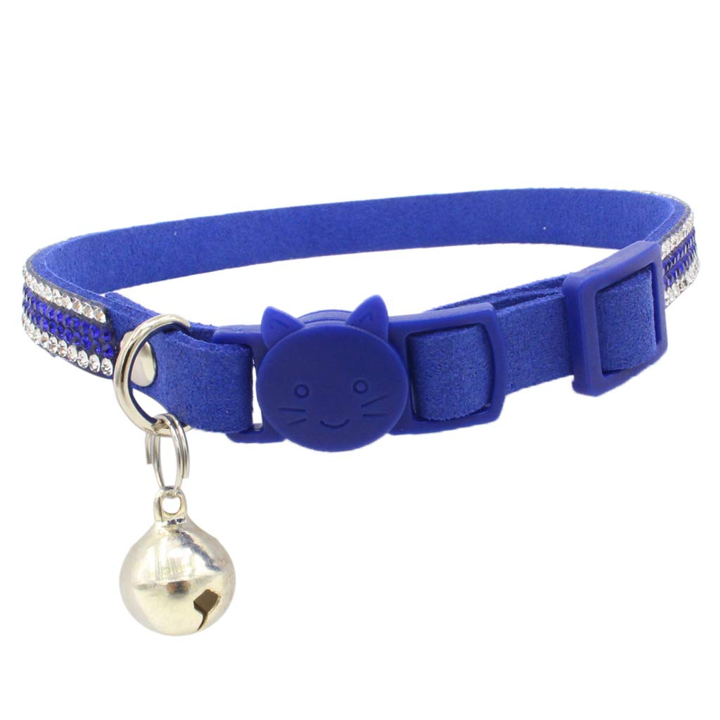 MagiDeal Pet Small Dog and Cat Crystal Diamonds Collar with Bell Blue S