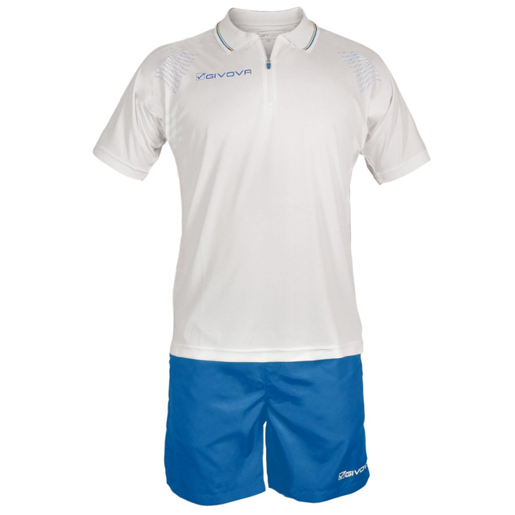 TALLA L. Givova, kit easy, blanco/azul, L