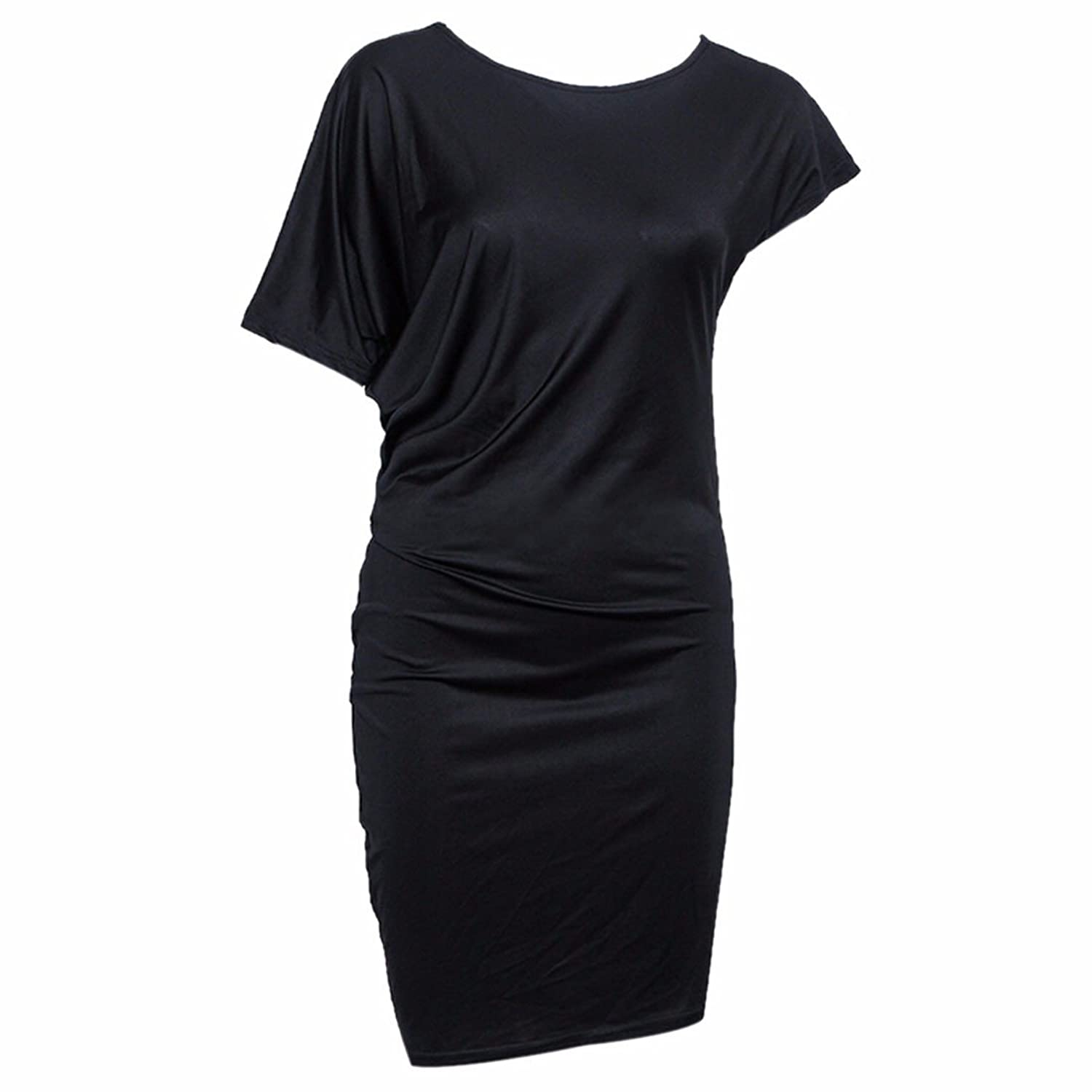 Solid Color Lady Short Sleeve Slim Bodycon Short Dress Evening Cocktail