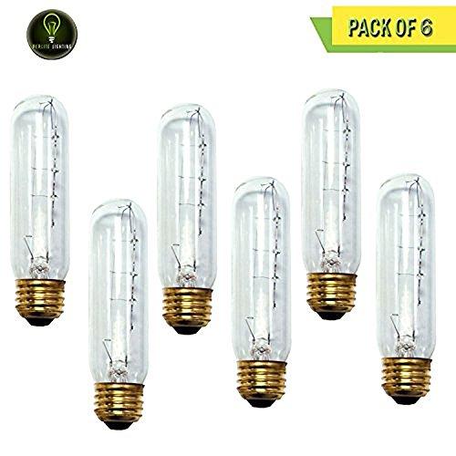 130v T10 E26 Medium Base - Perlite Lighting (Pack of 6) 60T10C/HO/130 60-Watt T10 Tubular Clear Medium E26 Base 130-Volt Light Bulb