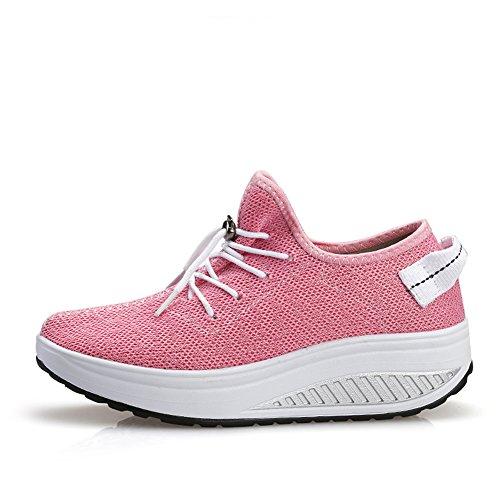 US5 JARLIF Platform 9 Fitness Lightweight Walking Wedges Womens High Tennis Shoes Comfortable Pink Sneakers Heel ZZq17w