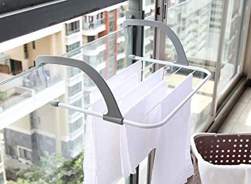 Indoor/Outdoor Portable Clothes Hanging Drying Rack | White | Rust Proof Material | Heat Resistant Up To 158 Fahrenheit/70 Celsius | Foldable Plastic Handle For Easy Storage | Hold Up To 11 Pounds by JustNile (Image #1)