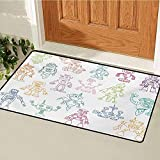 GUUVOR Doodle Front Door mat Carpet Drawings of Various Robots Performing a Number of Tasks Radar Waiter Guard Cleaner Machine Washable Door mat W15.7 x L23.6 Inch Multicolor