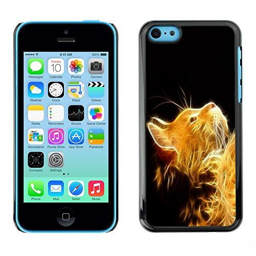 TopCaseStore / caoutchouc Hard Case Housse de protection la Peau - Cat Fire Ginger Yellow Furry Magic Mythical - Apple iPhone 5C