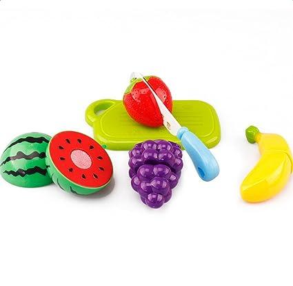 JUNGEN 6 PCS Corte de juguetes de frutas y hortalizas de plástico juguetes de alimentos para
