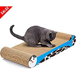 LAMBAW Cat Scratcher Eco-friendly Corrugated Cardboard Scratching Pads Lounger Bed Kitty Playing Lounge Rest Both Sides Used - Protect Furniture Keep Healthy Cat Claw - Bone Shape Blue