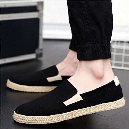 Chaussures pour hommes chaussures diverses en paille chaussures respirantes chaussures de toile chaussures de chanvre black 40