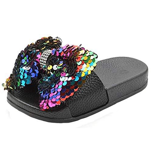 HONGTEYA Girls Glitter Slides Slippers Black Sequin Bow Shoes for Kids Beach PVC Molded Footbed Flatform Sandals (7 M US Toddler, 15cm, 5.91inches, CN25,Color)