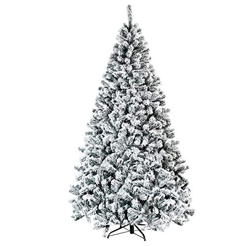Frolic Racсoon Artificial Tree Unlit Snow Flocked Christmas Tree 9Ft Hinged Metal Stand (Tree Frosted Christmas 9ft)