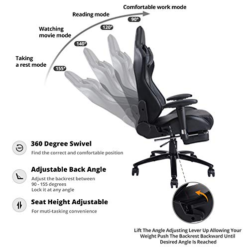 KILLABEE Big and Tall 350lb Massage Gaming Chair Metal Base - Adjustable Massage Lumbar Cushion, Retractable Footrest High Back Ergonomic Leather Racing Computer Desk Executive Office Chair by KILLABEE (Image #1)