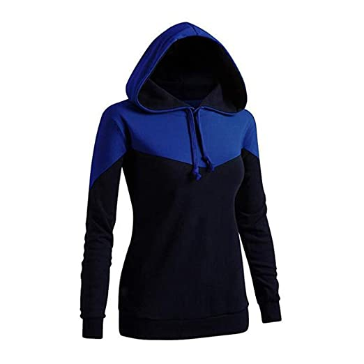 207b58338df Yanvan Womens Hooded Tops Contrast Stitching Zipper Long Sleeve Pocket  Pullover at Amazon Women s Clothing store