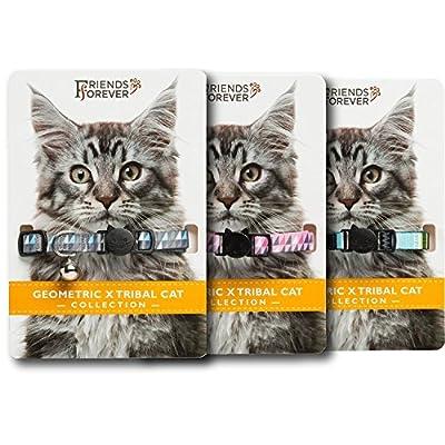 Geo X Tribal Cat Collar Collection 3 Pieces Pack Set, Durable & Safe, Nylon, Mixed Colors, Pet Collar, Breakaway Cat Collar