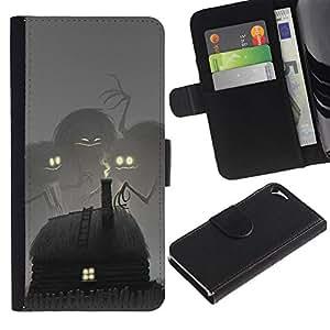 Estuche de Cuero Billetera del tirón Tarjeta de la Bolsa Titular de Suave Caso para Apple Iphone 5 / 5S / CECELL Phone case / / Fairytale Drawing Monster Kids /