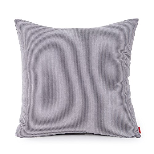 baibu Corduroy Decor Solid Throw Pillow Cover (7 Colors and 8 Sizes) Cushion Cover with Hidden Zipper for Sofa Light Grey 24x24