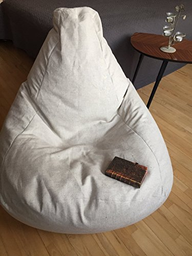 Natural Linen Bean Bag Chair Cover Scandinavian Rustic Country Interior Minimalist Style Adults Large Beanbag Natural fabrics Eco friendly Simple Design Handmade Floor Pillow