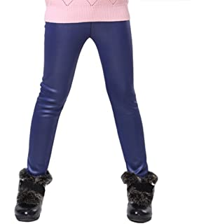 36e849954 Swtddy Kids Winter Warm Leggings Stretch Girls Faux Leather Fleece Pants  Thick Trousers