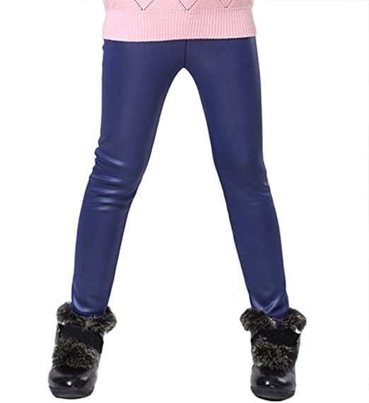 962c1951332a8 Swtddy Kids Winter Warm Leggings Stretch Girls Faux Leather Fleece Pants  Thick Trousers (Tab Size