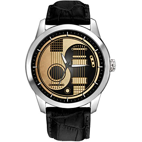odcut Art Acoustic-Electric Guitar 40 mm Solid Brass GUITARIST'S Wrist Watch ()