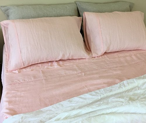 Ballet Slipper Pink Bed Sheet Handmade In Natural Linen, Pink Bed Sheets, Pink  Bedding