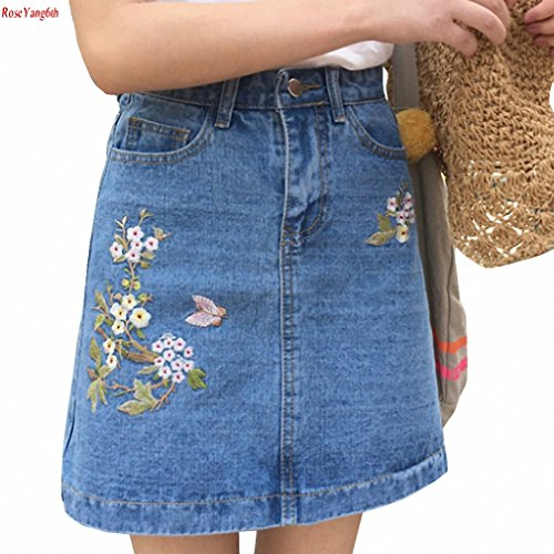 (Embroidered Denim Skirts High Waist A Word Skirts Womens All Match Mini Saia Plus Size Jupe Femme light bule M)
