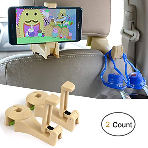 AYUQI Car Hooks Headrest Hangers Car Front Back Seat Hooks with Phone Holder, 2 in 1 Universal Vehicle Car Seat Hanger Holder Hook for Hanging Purse, Bag, Cloth, Grocery (Beige - Set of 2)