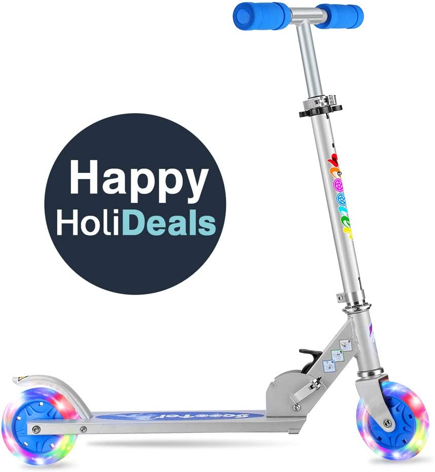 BELEEV Folding Kick Scooter for Kids 2 Wheel Scooter for Girls Boys, CSPC&ASTM Safety Certified, 3 Adjustable Height, PU LED Light Up Wheels for ...