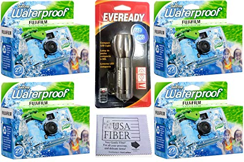Fujifilm Quick Snap Waterproof 35mm Single Use Camera, 4 Pack + Free Mini Flashlight + Free Pure Fiber USA Cloth