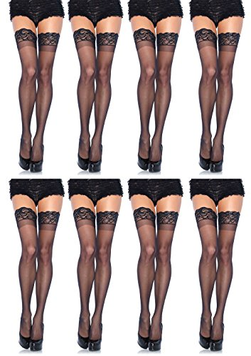 Leg Avenue Womens Thigh High Stockings with Silicone Lace Top