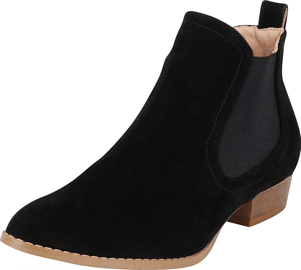 Black Imsu Cambridge Select Women's Classic Western Pointed Toe Chelsea Stretch Low Heel Ankle Bootie