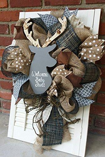 Baby Shower Wreaths (Woodland Nursery Decor Gray Deer Wreath Rustic Nursery Woodland Burlap Wreath Antler Deer Baby Shower Burlap Baby Decor Wreath Baby Decor Grey Brown Nursery)