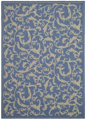 Safavieh Transitional Rug - Courtyard Polypropylene -Blue/Natural Blue/Natural/Transitional/6'7