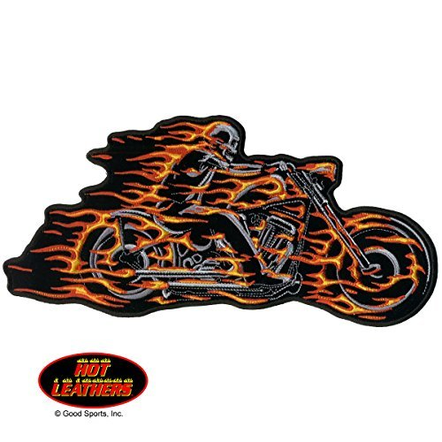 Hot Leathers, HELL RIDER MOTORCYCLE with Flaming Bike & Skeleton Rider, Iron-On / Saw-On Rayon PATCH - 5