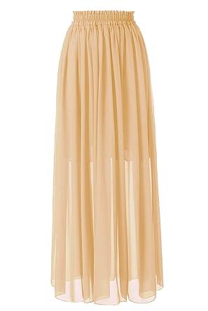 0b49678a78 Topdress Women's Floor Length Beach Skirt Floral Print Chiffon Maxi Skirts  Beige M