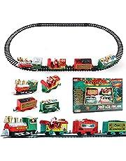 Christmas Train Set, Electric Toys Railway Train Set Santa Claus Train Ornament for Kids Gift Christmas Party Home Decor (Style A)